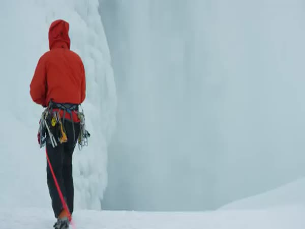 Ice Climbing Frozen Niagara Falls