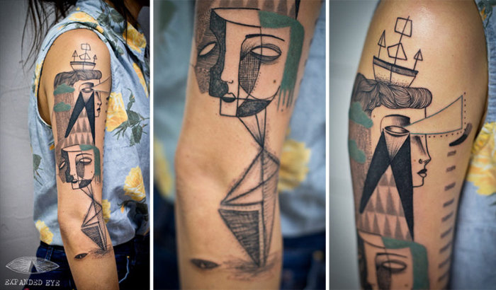 Duo Creates Unique Cubist Tattoos From Clients' Stories (20 pics)
