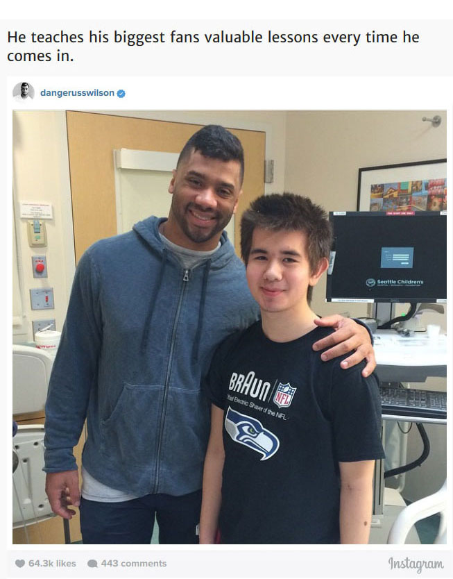 After Losing The Super Bowl Russell Wilson Visited The Children's Hospital (8 pics)