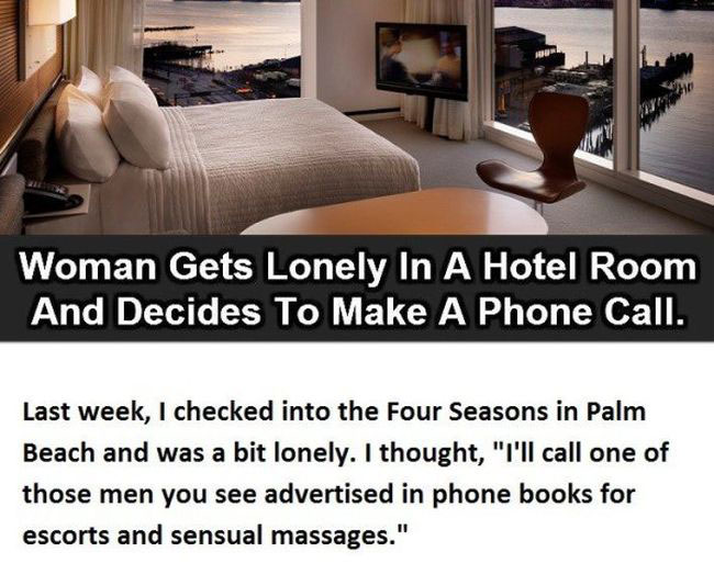Woman Gets Lonely In A Hotel Room, What Happened Next Is Hilarious (3 pics)