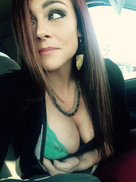 Showing Boobs In Car