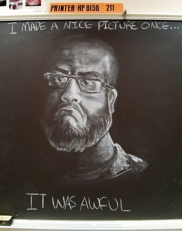 Teacher Uses Amazing Chalkboard Artwork To Inspire His Students (7 pics)