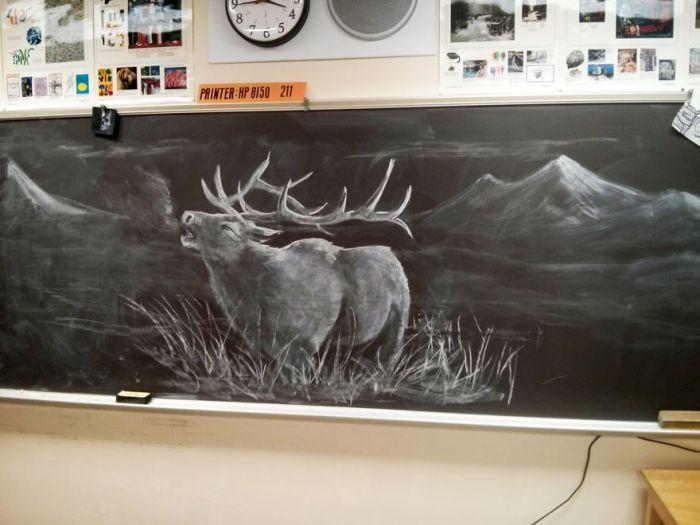 Teacher Uses Amazing Chalkboard Artwork To Inspire His Students (7 pics)