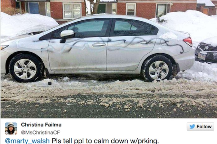 People In Boston Will Do Anything To Keep Their Parking Spots (17 pics)