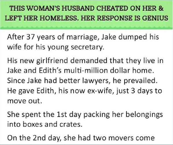 Woman Gets The Last Laugh On Her Cheating Husband (2 pics)