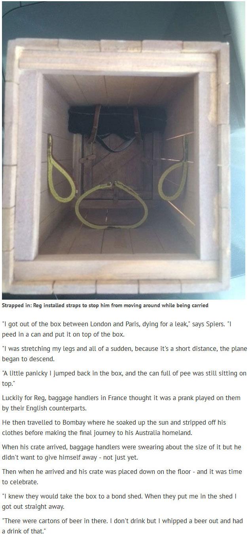 Javelin Thrower Reg Spiers Posts Himself From UK to Australia (3 pics)