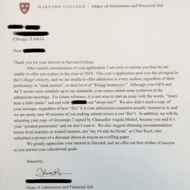 Harvard University Sent Out A Rejection Letter That Is Pure Gold