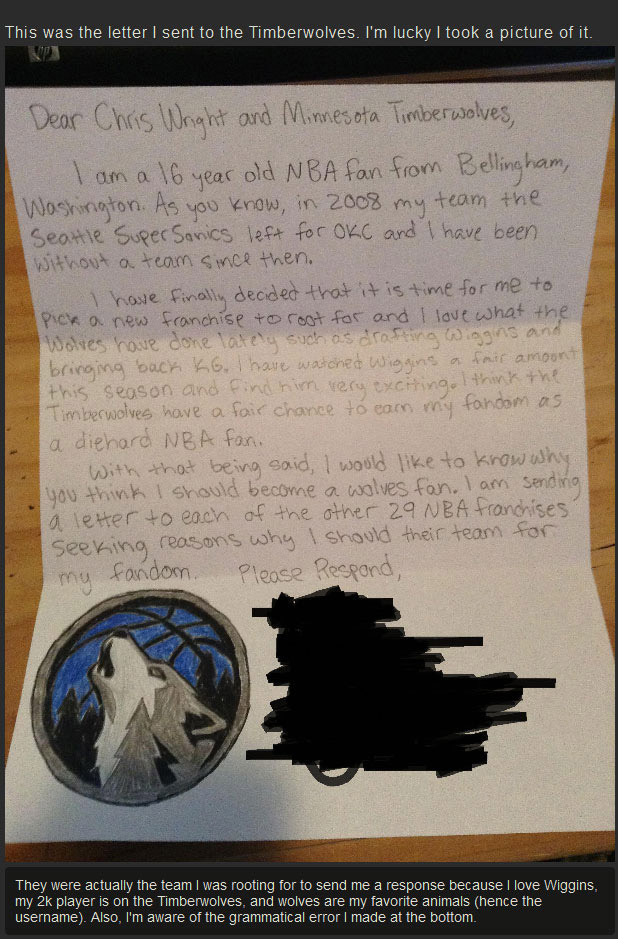 Every NBA Team Got A Letter From This Little Kid But Only One Responded (7 pics)