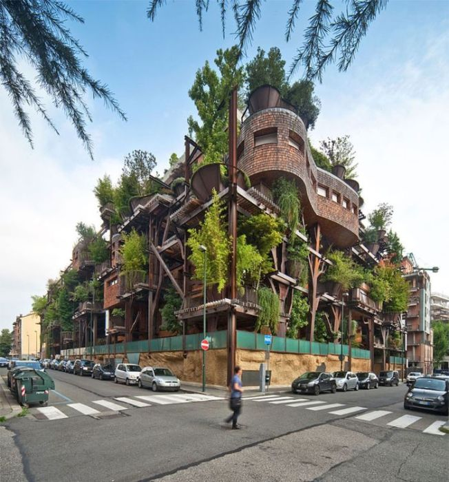 Inner City Treehouse Uses 150 Trees To Protect Residents From Noise (12 pics)