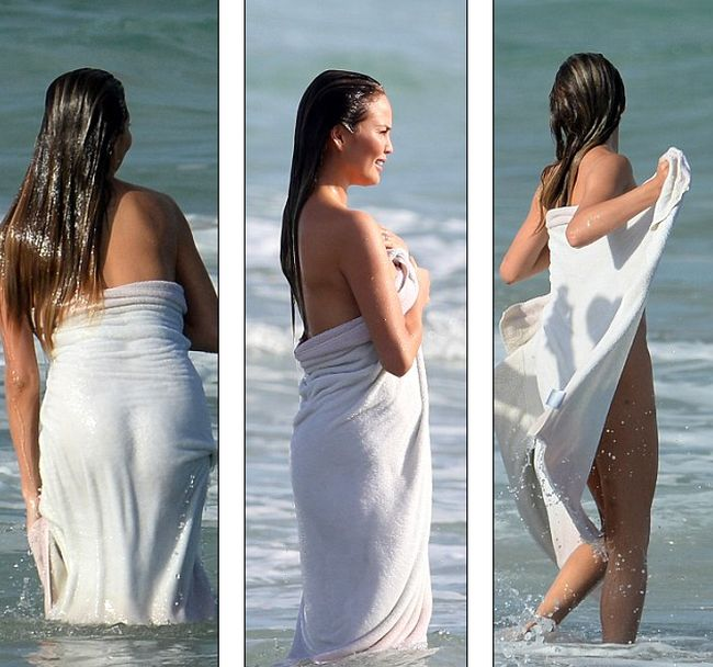Chrissy Teigen Goes Nude During Her Latest Photoshoot At The Beach (10 pics)
