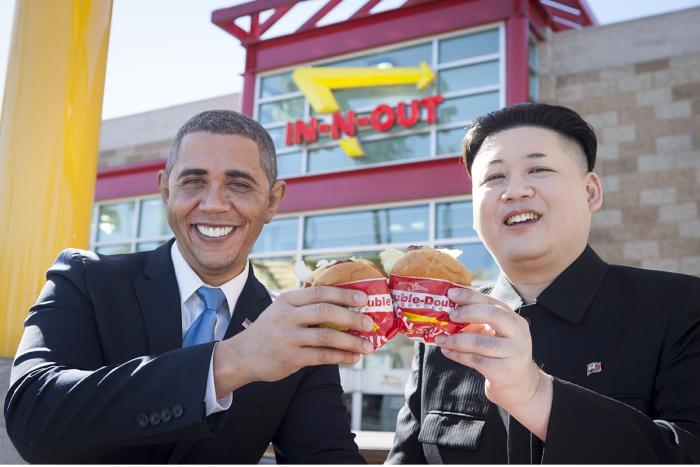 Barack Obama and Kim Jong Un Impersonators Stroll Through L.A. Together (7 pics)