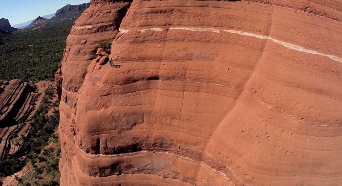 Biker Attempts To Ride The White Line Trail At Sedona's Red Rock Cliffs (5 pics)