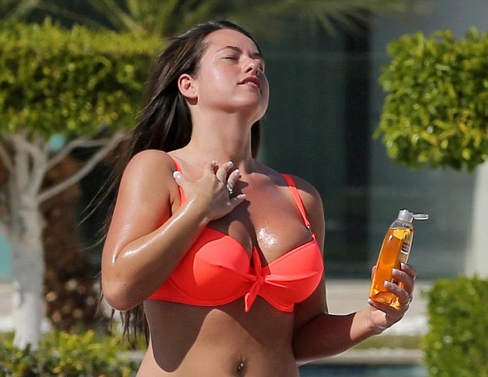 Karen Danczuk Covers Her Bikini Clad Body In Oil (16 pics)