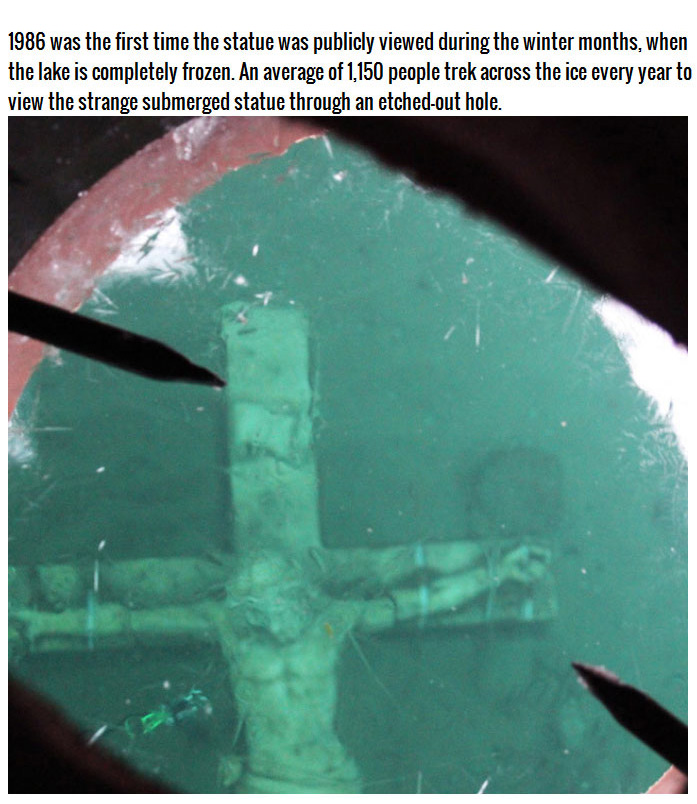 Giant Crucifix Under The Waters Of Lake Michigan (4 pics)