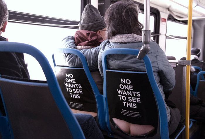 This Bus Ad Is Raising Color Cancer Awareness By Using Butt Cracks (5 pics)