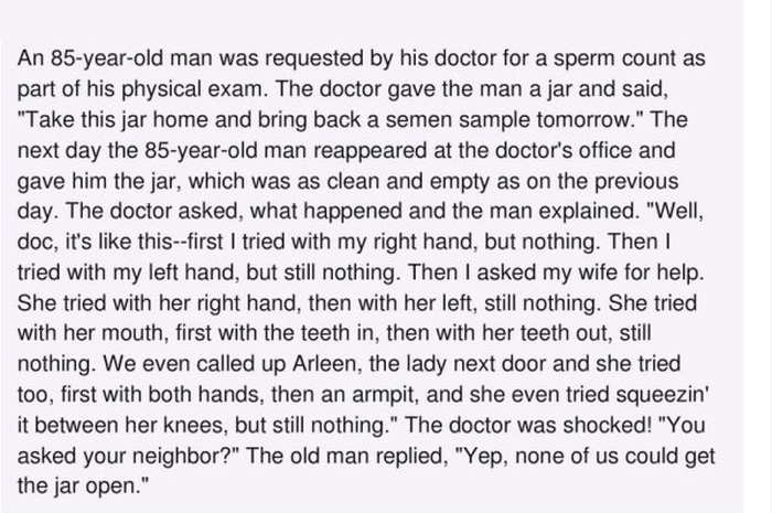 85 Year Old Man Tries To Give His Doctor A Sperm Count With Hilarious Results