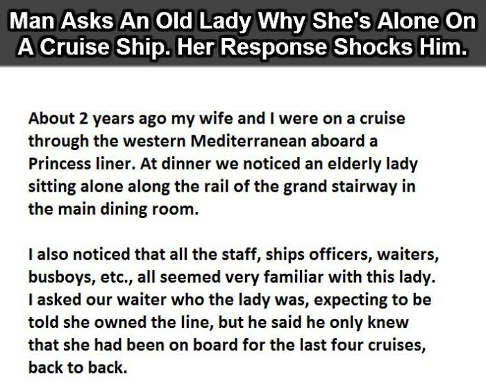 Old Woman Has The Perfect Answer As To Why She's Alone On A Cruise (4 pics)