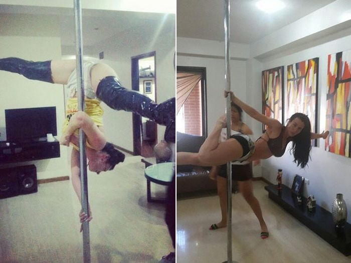 Playboy Model's Breast Implant Bursts While She's Pole Dancing (5 pics)