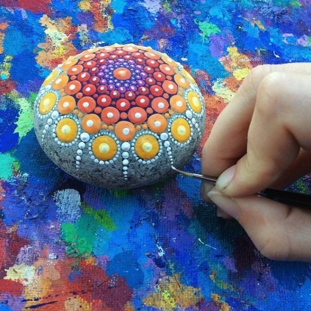 Artist Creates Amazing Mandalas By Painting Ocean Stones (15 pics)