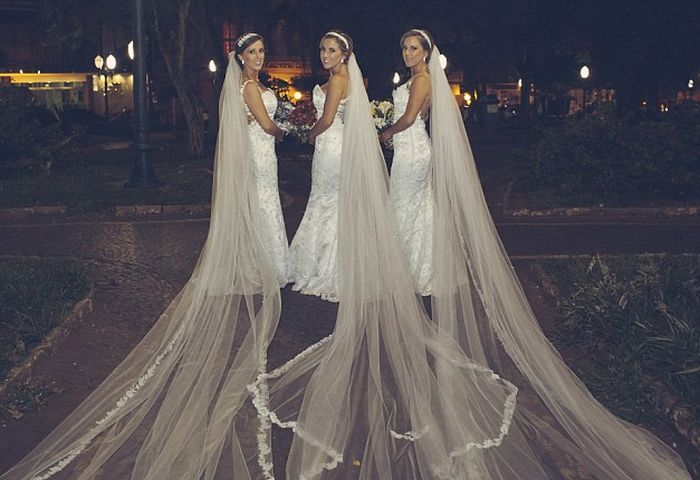 Identical Triplets Get Married On The Same Day At The Same Time (6 pics)
