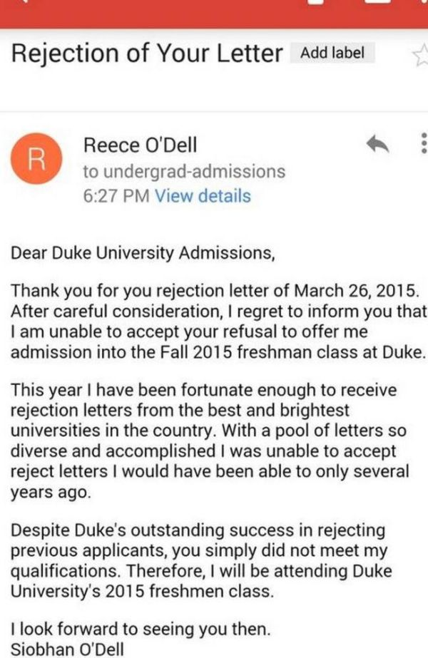 Student Siobhan O'Dell Sends A Rejection Letter To Duke University (3 pics)