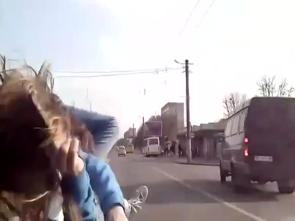 Girl Provokes An Accident