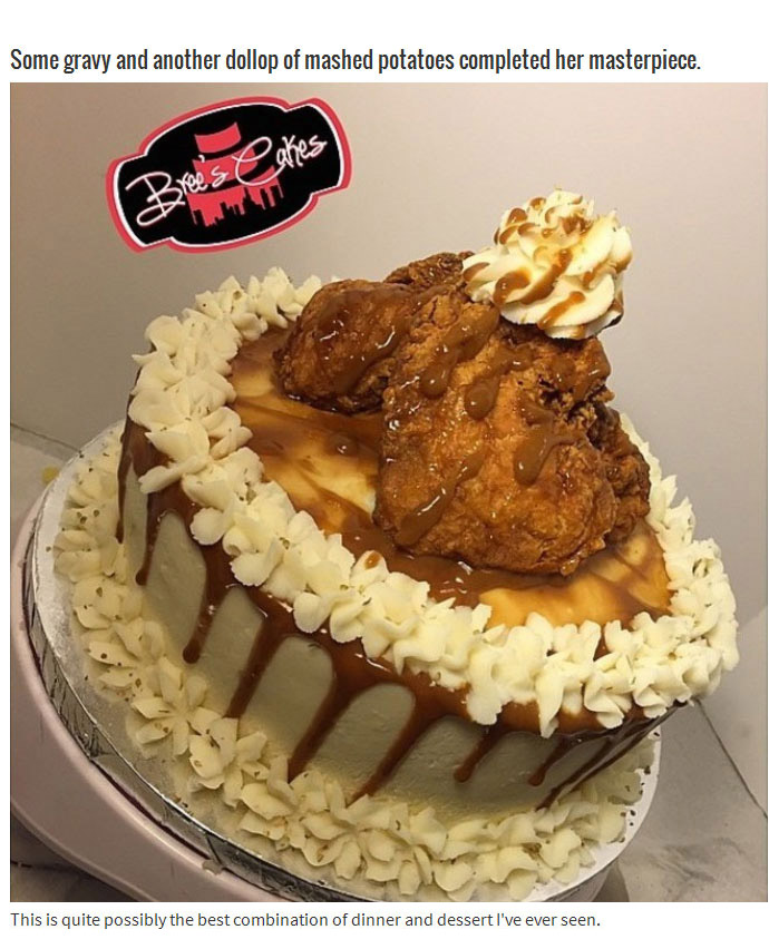 Fried Chicken Plus Mashed Potatoes Equals The Best Cake Ever (9 pics)