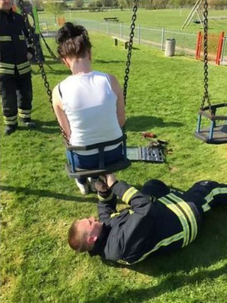 Firefighters Had To Rescue This Teenager Stuck In A Child's Swing (3 pics)