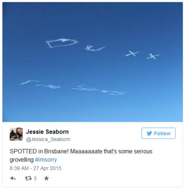 Sometimes You Just Have To Apologize Using Skywriting (5 pics)