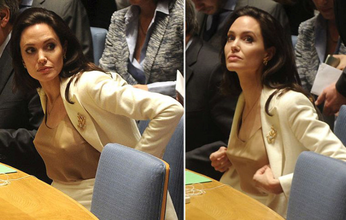 Angelina Jolie Shows Up At The United Nations Without A Bra (4 pics)