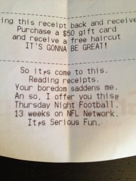 Funny Messages Printed On Receipts (20 pics)