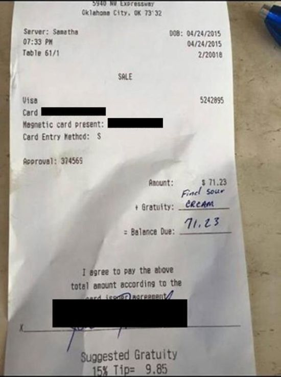 Man Doesn't Leave A Tip Then Gets Owned Online (3 pics)