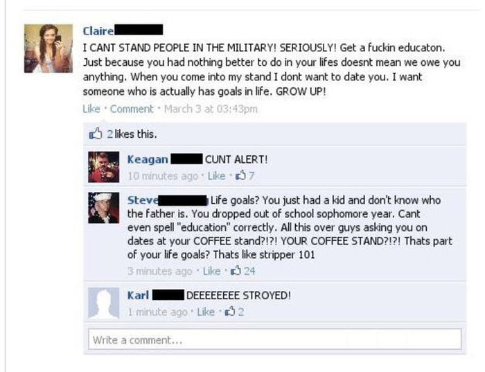 This Girl Got Destroyed For Ripping On The Military On Facebook (2 pics)
