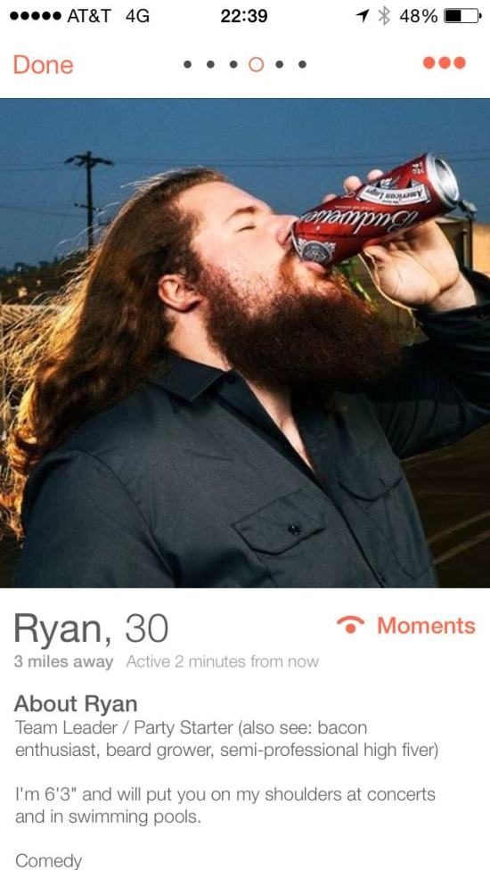 This Bearded Guy Might Have The Best Profile On Tinder (4 pics)