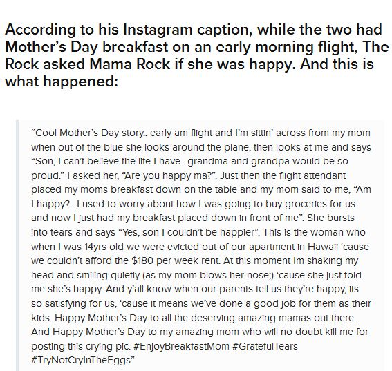 The Rock Shared A Heartwarming Story About His Mom On Mother's Day (2 pics)