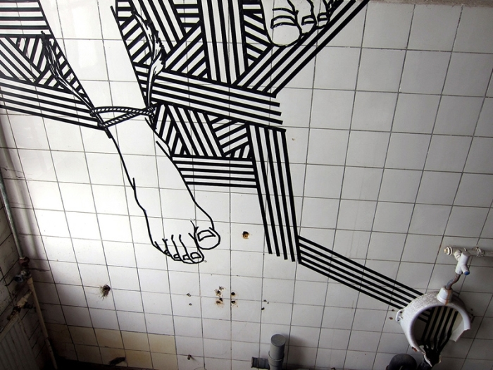 Artist Uses Duct Tape Instead Of Paint To Create Street Art (21 pics)