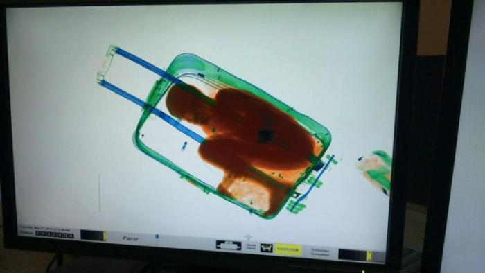 Woman Tries To Smuggle Her 8 Year Old Son Into Spain Using A Suitcase (4 pics)