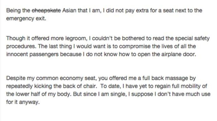This Asian Woman's Letter To The Passenger From Hell Is Hilarious (8 pics)