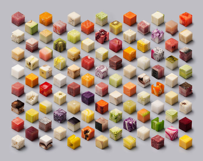 Artists Cut Raw Food Into 98 Perfectly Sized Cubes (6 pics)