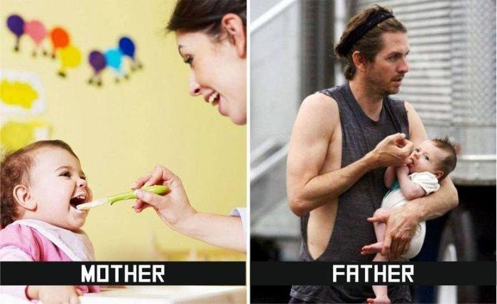 10 μεγάλες διαφορές ανάμεσα Πώς μητέρες και τους πατέρες τη φροντίδα των παιδιών (10 pics)
