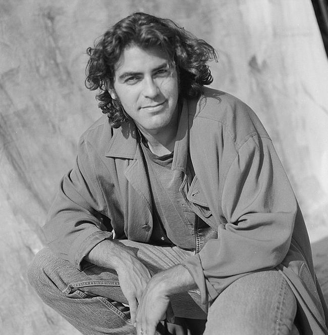 A Young George Clooney Had Long Hair And Sideburns In 1989
