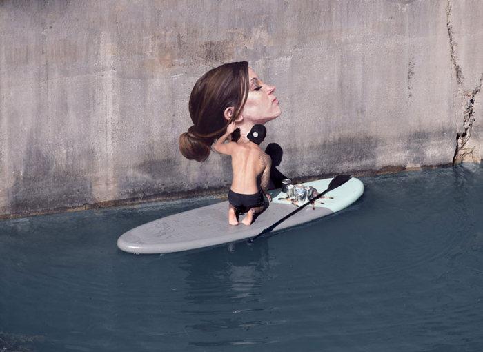 Hawaiian Artist Paints Incredible Seaside Murals While On A Surfboard (10 pics)