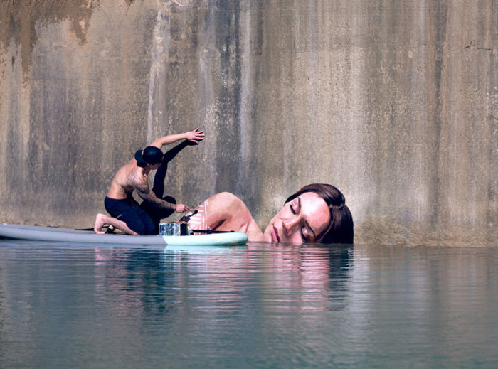 Hawaiian Artist Paints Incredible Seaside Murals While On A Surfboard (10 pics)