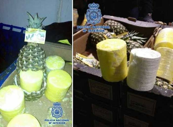 Spanish Police Recently Seized A Massive Stash Of Cocaine Stuffed Pineapples (3 pics)