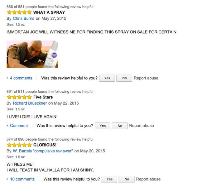 Mad Max Fans Have Hijacked The Silver Cake Spray Reviews On Amazon (5 pics)