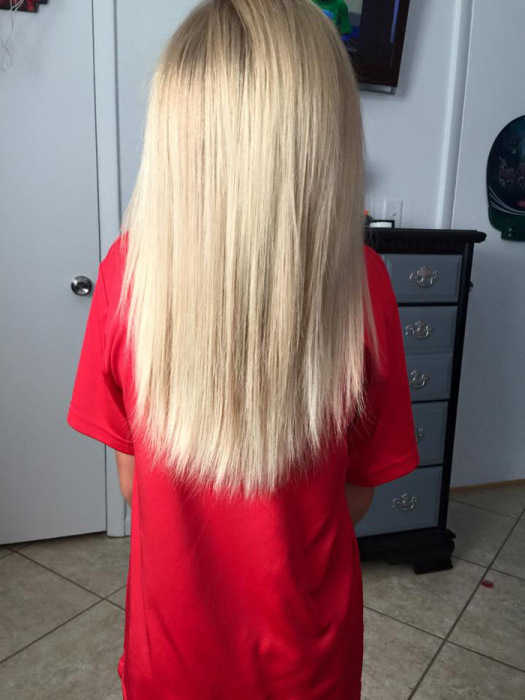 8 Year Old Boy Grows His Hair Long To Donate It For Cancer Patients (8 pics)