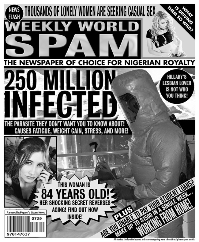Man Uses Headlines From His Spam Folder To Make His Own Tabloid Covers (2 pics)