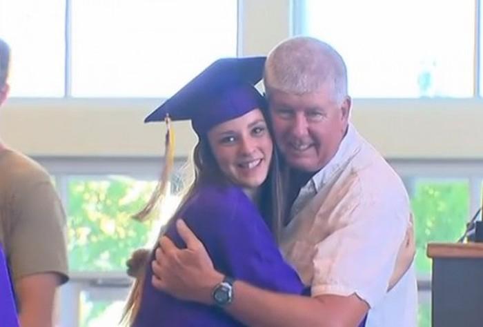 Fireman Who Saved A Little Girl's Life Attends Her High School Graduation (3 pics)