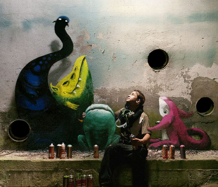 An Artist In Berlin Is Painting Monster Murals Inside Abandoned Buildings (19 pics)