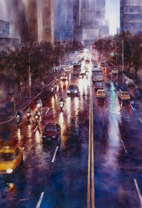 Artist Lin Ching Che Uses Watercolors To Paint Urban Landscapes (26 pics)